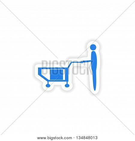 icon sticker realistic design on paper loader truck box