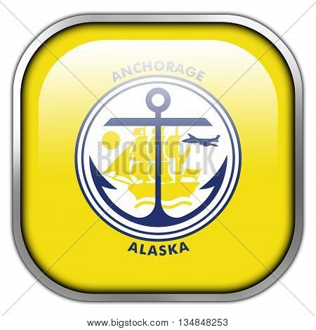 Flag Of Anchorage, Alaska, Square Glossy Button