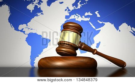 International law system justice human rights and global business concept with a gavel and world map on background 3D illustration.