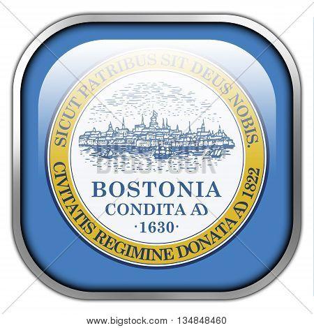 Flag Of Boston, Massachusetts, Square Glossy Button