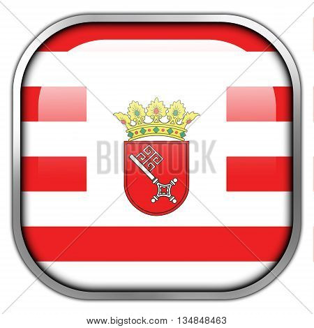Flag Of Bremen With Coat Of Arms, Square Glossy Button