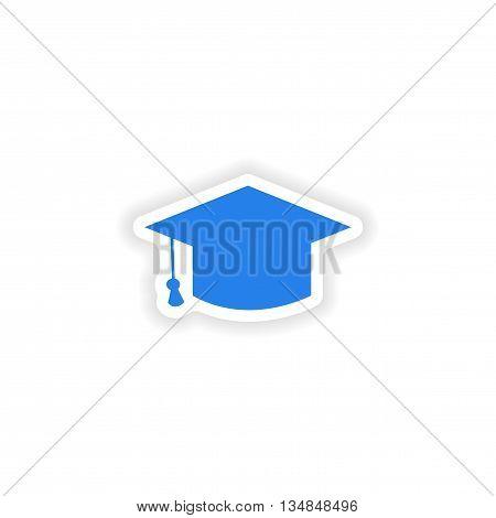 icon sticker realistic design on paper Master's cap