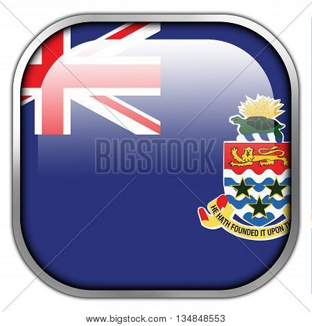 Flag Of Cayman Islands, Square Glossy Button