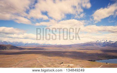 Landscape surrounding Mt John observatory, New Zealand.