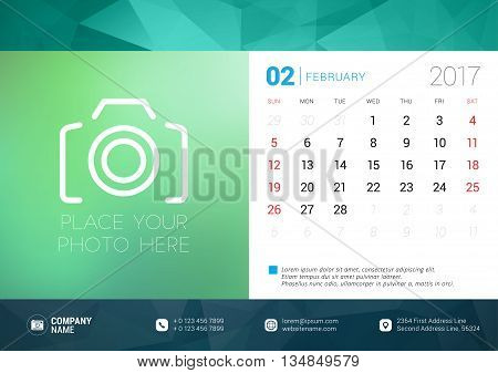 Desk Calendar Template For 2017 Year. February. Design Template With Place For Photo. Week Starts Su