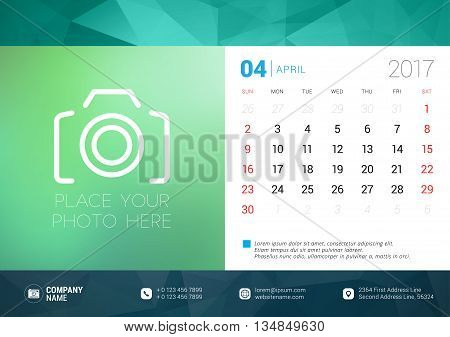 Desk Calendar Template For 2017 Year. April. Design Template With Place For Photo. Week Starts Sunda