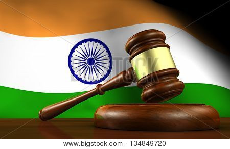 India laws legal system and justice concept with a 3D rendering of a gavel and the Indian flag on background.