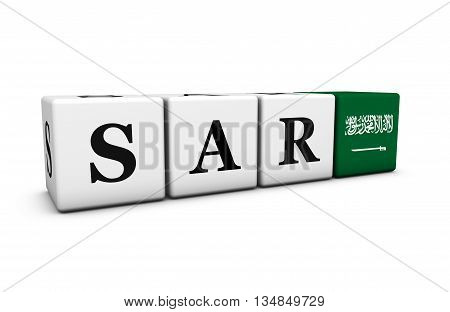 Saudi Arabia riyal currency exchange market and financial concept with sar code sign and the Saudi Arabian flag on cubes 3D illustration on white background.