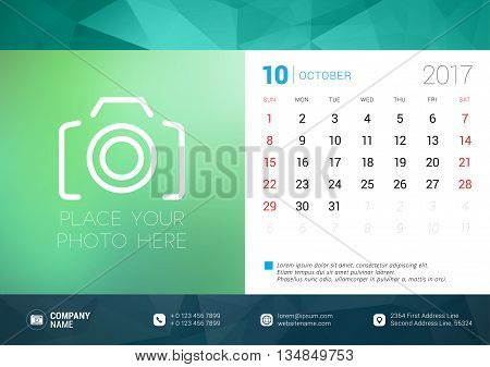 Desk Calendar Template For 2017 Year. October. Design Template With Place For Photo. Week Starts Sun