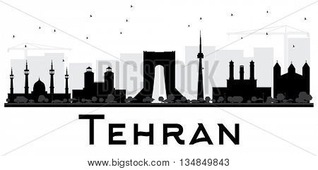 Tehran City skyline black and white silhouette. Simple flat concept for tourism presentation, banner, placard or web site. Business travel concept. Cityscape with landmarks