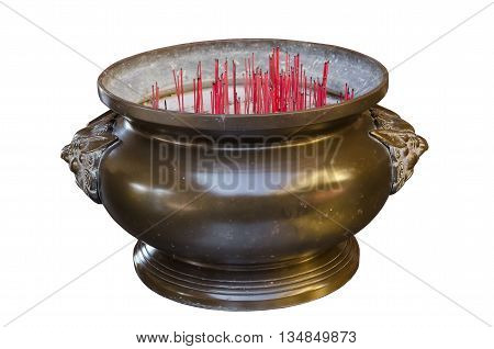 Incense Burner at a Chinese temple on white background.