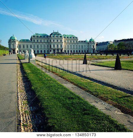 Belvedere Gallery And Garden In Vienna. Aged Photo