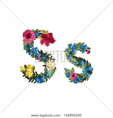 S letter. Flower capital alphabet. Colorful font. Uppercase and lowercase. Vector illustration. Grotesque style. Floral alphabet.