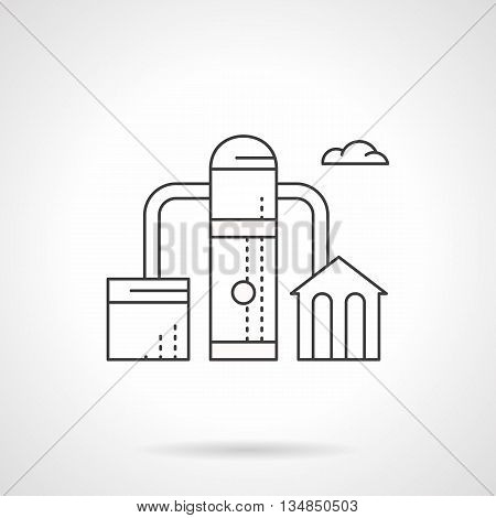 Fuel factory. Industrial objects and facilities. Fuel and energy complex, oil processing. Environment pollution concept. Flat line style vector icon.