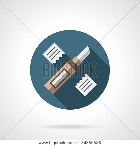 Construction knife and two sliced pieces of material. Renovation services, floor covering repair works. Round flat color style vector icon.