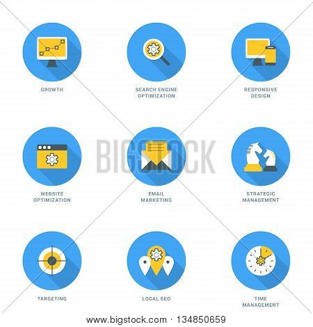 Set of Flat Design SEO Icons. Growth Search Engine Optimization Responsive Design Strategic Management Email Marketing Website Optimization Time Management Targeting Local SEO. Vector Icons