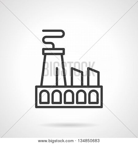 Power station symbol. Industrial facilities and urban landscape. Factory building with chimneys. Simple black line style icons.