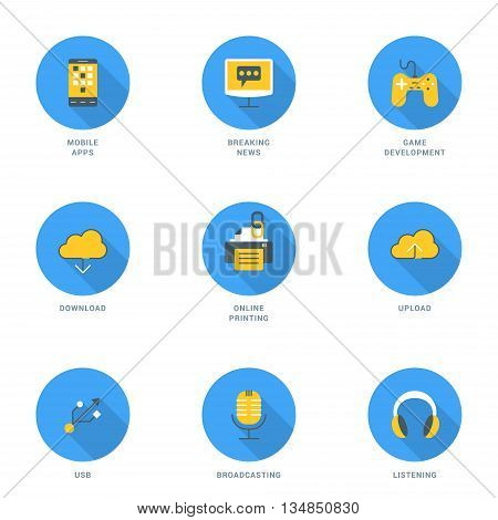 Set of Flat Design Icons With Long Shadow. Modile Apps Game Development Breaking News Online Printing Download Upload USB Broadcasting Listening. Vector Icons
