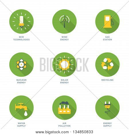 Set of Flat Design Ecology Icons With Long Shadow. New Technologies Wind Energy Gas Station Nuclear Energy Solar Energy Recycling Water Supply Air Pollution Energy Supply. Vector Icons
