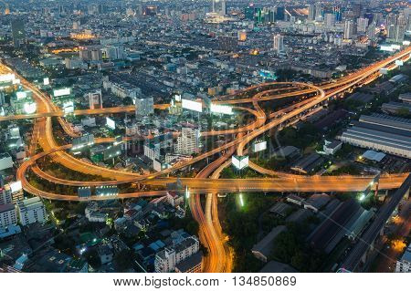 Aerial view, Highway interchanged night view, long exposure