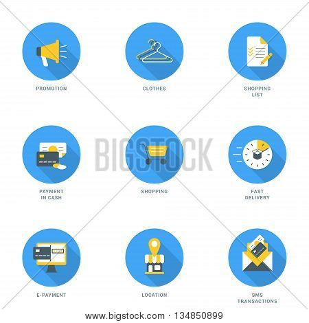 Set of Flat Design Business and Shopping Icons With Long Shadow. Promotion Clothes Shopping List Payment in Cash Shopping Fast Delivery E-Payment Location SMS Transaction. Vector Icons