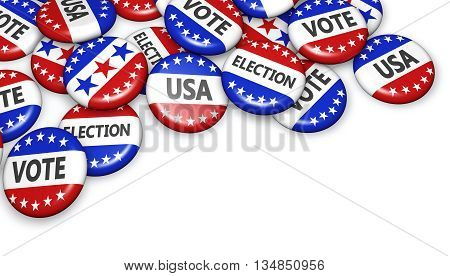 US presidential election in USA vote concept with sign on campaign badges with copyspace 3D illustration.