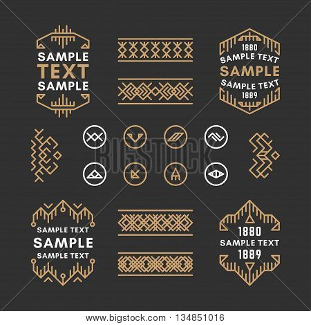 Set of Four Line Art Decorative Geometric Vector Frames and Borders with Golden and Black Colors. Vector Ornaments Vector Decoration Line Ornament Vector Logos Vector Labels