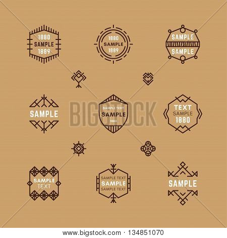 Set of Line Art Decorative Geometric Vector Frames and Borders with Brown Colors. Vector Ornaments Vector Decoration Line Ornament Vector Logos Vector Labels