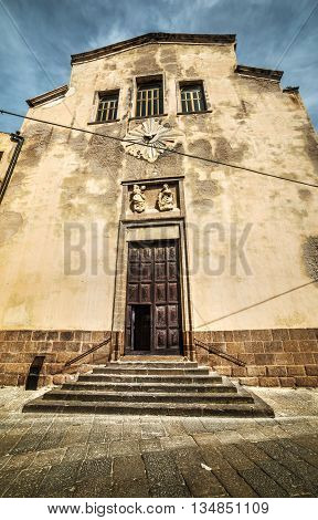 front view of San Michele church in Alghero Italy