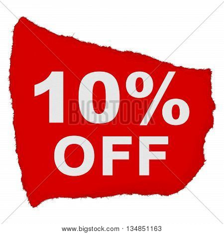 10% Off Torn Red Paper Scrap Isolated On White Background