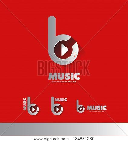Vector company logo icon element template music sound recording producer beat play button studio