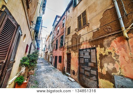 an old street in Alghero old town, Italy