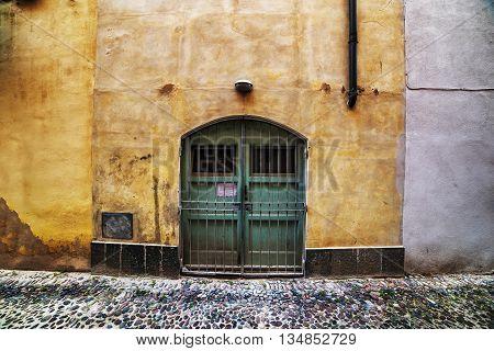 vintage door in an italian old town