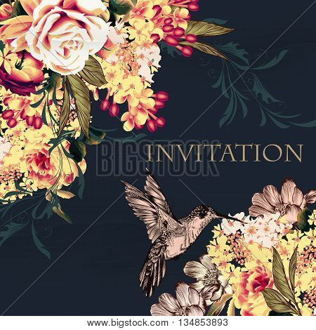 Fashion background illustration or save the date card with rose flowers lilac and hummingbird soft blue pink retro tones