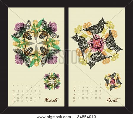 Animal printable calendar 2017 with flora and fauna fractals on beige background. Set 2 - March and April pages