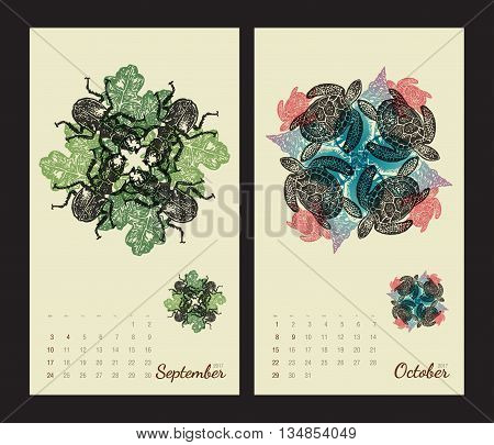 Animal printable calendar 2017 with flora and fauna fractals on beige background. Set 5 - September and October pages