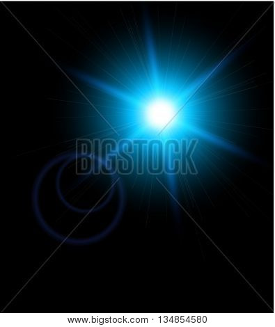 Lighting effects of flash. Star with lens flare and bokeh effect.