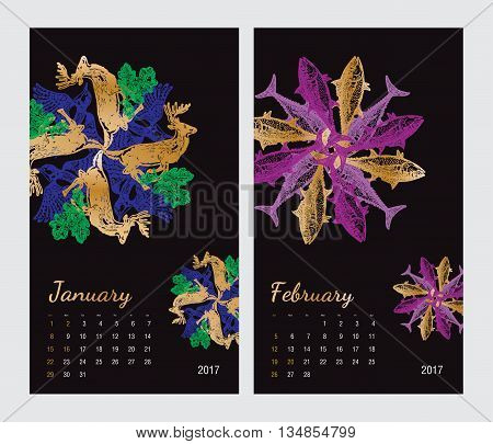 Animal printable calendar 2017 with flora and fauna fractals on black background. Set 1 - January and february pages