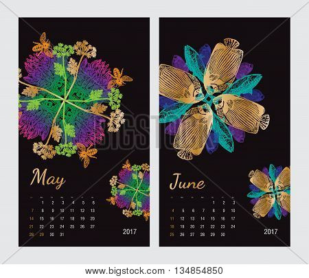 Animal printable calendar 2017 with flora and fauna fractals on black background. Set 3 - May and June pages