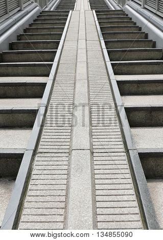 Outdoor Gray Stone Staircases From Perspective Angle