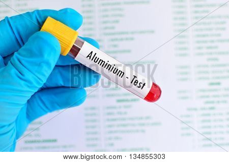 Test tube with blood sample for aluminium test