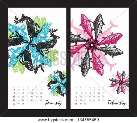 Animal printable calendar 2017 with flora and fauna fractals on white background. Set 1 - January and february pages