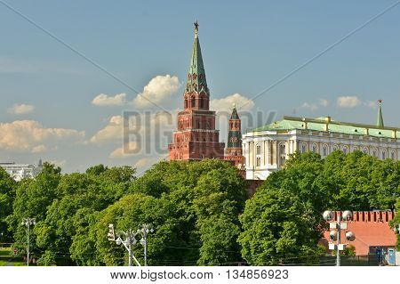 Moscow Kremlin Tower. Kremlin framed by the summer green tree crowns.