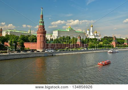 Moscow Kremlin on a summer day. Summer landscape of the Moscow Kremlin and the waterfront.