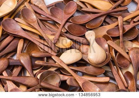 Multiple wooden brown spoons for graphics resource