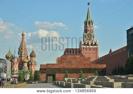 The Lenin mausoleum on red square in Moscow. Moscow Kremlin and Red Square.