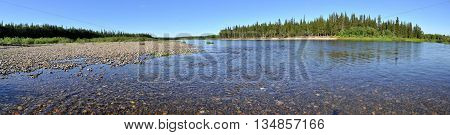 Panorama of the Northern rivers. Virgin Komi forests Polar Urals Russia.