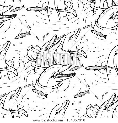 Graphic feeding dolphins. Dolphins in the water catching fish. Summer mood. Vector seamless pattern. Sea and ocean vector creatures in black and white colors. Coloring book page design
