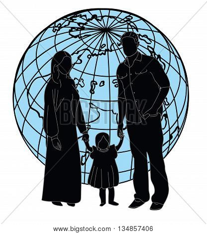 silhouette of family on a background of the earth. vector illustration