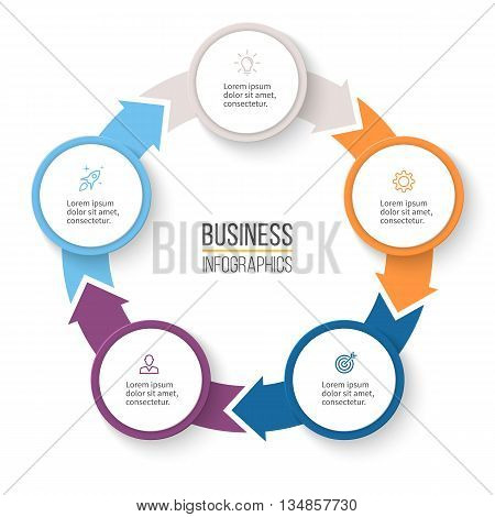 Circular arrows for infographics. Chart, graph, diagram with 5 steps, options, parts. Vector business template.